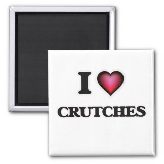 I love Crutches Square Magnet