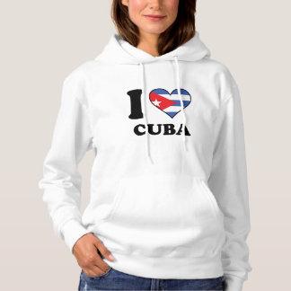 I Love Cuba Cuban Flag Heart Hoodie
