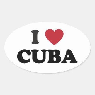 I Love Cuba Oval Sticker