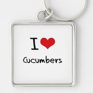 I love Cucumbers Silver-Colored Square Keychain