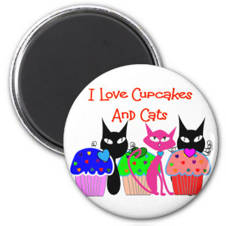"""I love cupcakes and cats""--Cupcake Lovers Gifts 2 Inch Round Magnet"