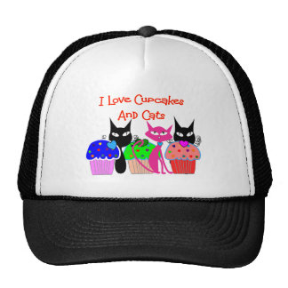 """I love cupcakes and cats""--Cupcake Lovers Gifts Trucker Hat"