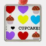 i love cupcakes bright design cupcake Silver-Colored square ornament