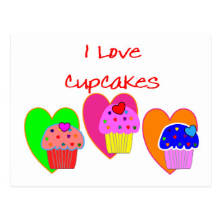 """I Love Cupcakes""--Cupcake lovers gifts Postcard"