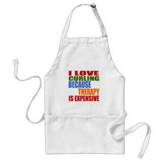 I Love Curling Because Therapy Is Expensive Standard Apron