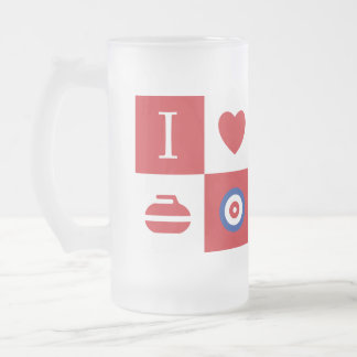 I love curling! beer mug