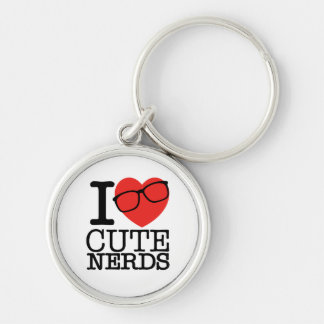 I Love Cute Nerds Silver-Colored Round Keychain