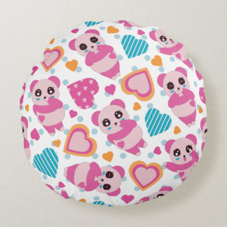 I Love Cute Pandas Round Pillow