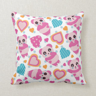 I Love Cute Pandas Throw Pillow