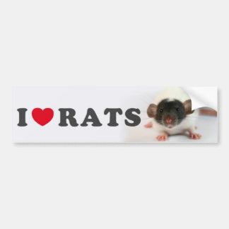 I love (cute) Rats Autocollant De Voiture