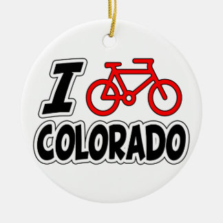 I Love Cycling Colorado Ceramic Ornament
