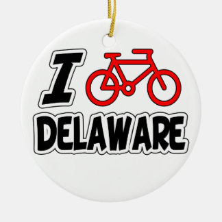 I Love Cycling Delaware Ceramic Ornament