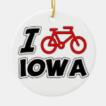 I Love Cycling Iowa Ornaments