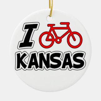 I Love Cycling Kansas Round Ceramic Ornament