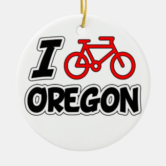 I Love Cycling Oregon Ceramic Ornament
