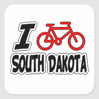 I Love Cycling South Dakota Square Sticker