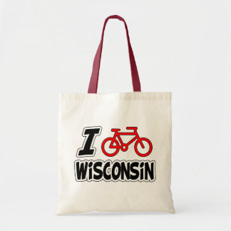I Love Cycling Wisconsin Tote Bag
