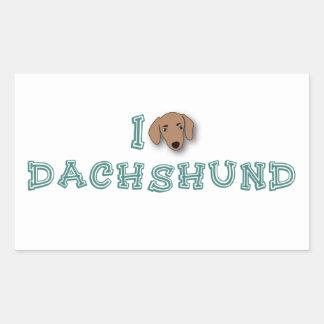 I Love Dachshund Adesivo Retangular