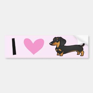 I Love Dachshunds (smooth coat) Bumper Sticker