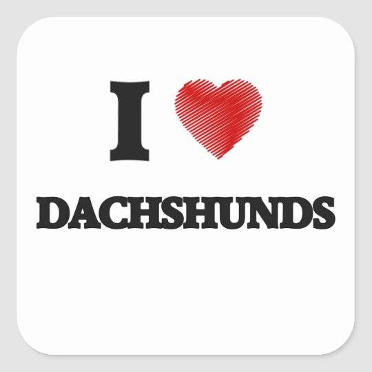 I love Dachshunds Square Sticker