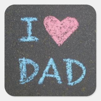 I Love Dad Square Sticker