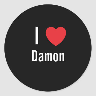 I love Damon Classic Round Sticker