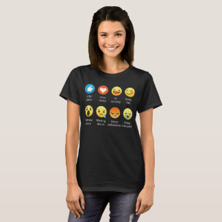 I Love DANCE Emoticon (emoji) (White Font) T-Shirt