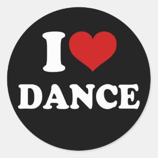 I Love Dance Round Sticker