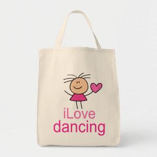 I Love Dancing Stick Figure Canvas Tote Bag