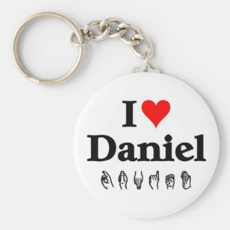 I love Daniel Basic Round Button Keychain