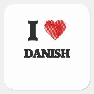 I love Danish Square Sticker