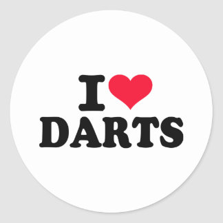 I love Darts Classic Round Sticker