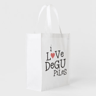 I Love Degu Pile Reusable Grocery Bag