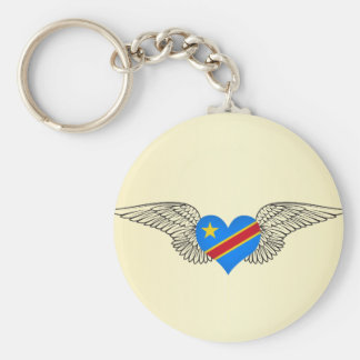 I Love Democratic Republic of Congo -wings Keychain