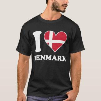 I Love Denmark Danish Flag Heart T-Shirt