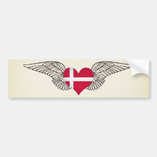 I Love Denmark -wings Bumper Sticker