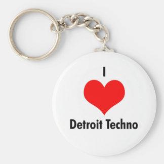 I love detroit techno basic round button keychain