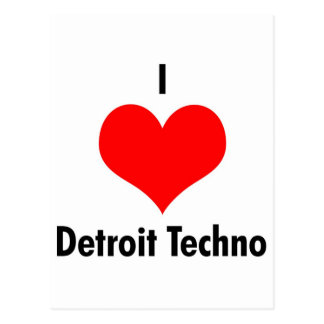 I love detroit techno postcard
