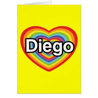 I love Diego: rainbow heart Greeting Card