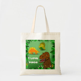 I Love Dinos Dinosaurs Cute Reusable Tote Bag