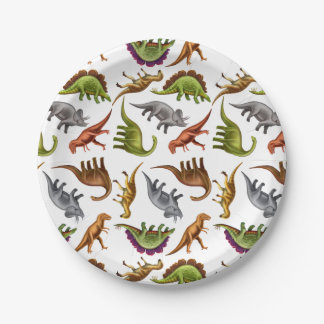 I Love Dinosaurs Prehistoric Paper Plates 7 Inch Paper Plate