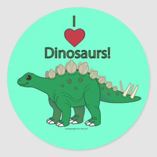 I Love Dinosaurs: Stegosaurus Classic Round Sticker
