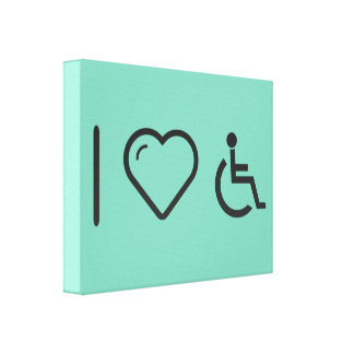 I Love Disabled Persons Stretched Canvas Prints