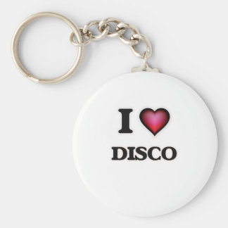 I love Disco Basic Round Button Keychain
