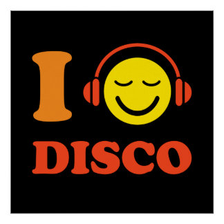 I love disco music smiley with headphones poster