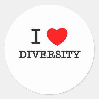 I Love Diversity Classic Round Sticker