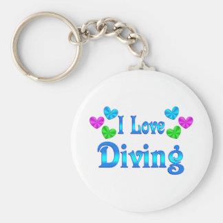 I Love Diving Basic Round Button Keychain