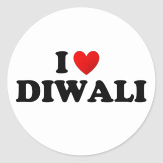 I love diwali classic round sticker