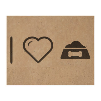 I Love Dog Bowl Cork Paper Prints