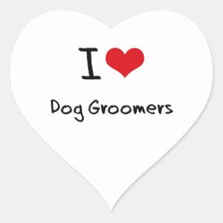 I Love Dog Groomers Heart Sticker